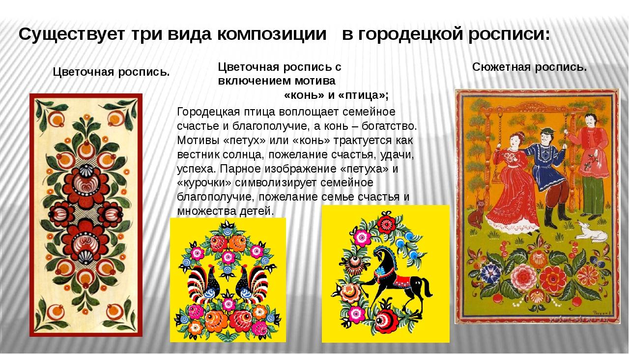 Существует три вида композиции в городецкой росписи: Цветочная роспись. Цвет...