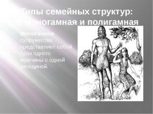 Типы семейных структур: а) моногамная и полигамная Моногамное супружество пре