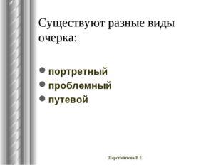 Существуют разные виды очерка: портретный проблемный путевой Шерстобитова В.Е