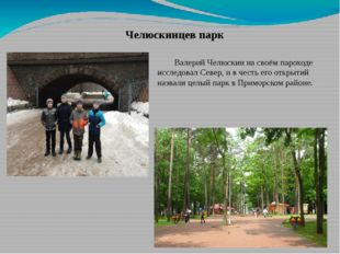 Челюскинцев парк Валерий Челюскин на своём пароходе исследовал Север, и в че