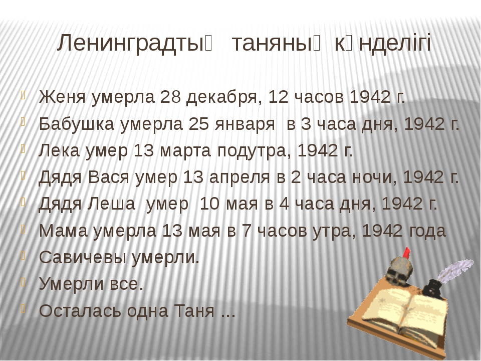 Ленинградтық таняның күнделігі Женя умерла 28 декабря, 12 часов 1942 г. Бабуш...