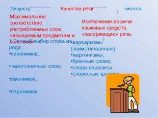 Точность Качества речи чистота Максимальное соответствие употребляемых слов н
