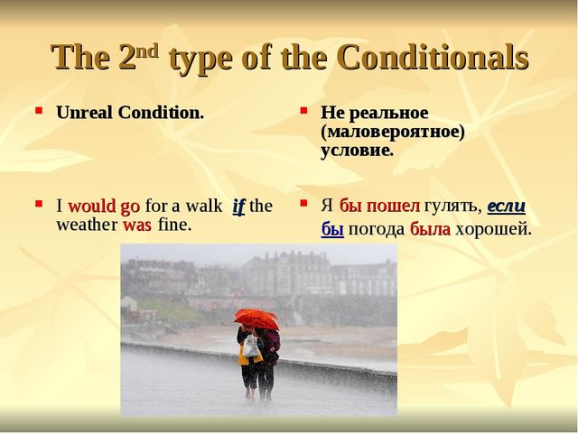 The 2nd type of the Conditionals Unreal Condition. I would go for a walk if t...