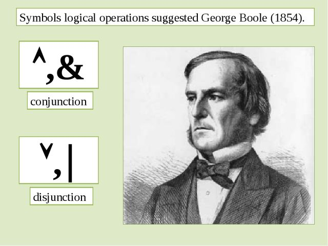 Symbols logical operations suggested George Boole (1854). ,& , conjunction...