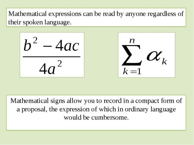 Mathematical expressions can be read by anyone regardless of their spoken lan...
