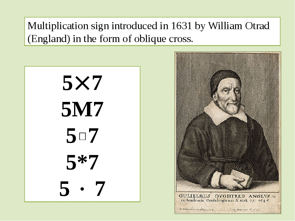 Multiplication sign introduced in 1631 by William Otrad (England) in the form...