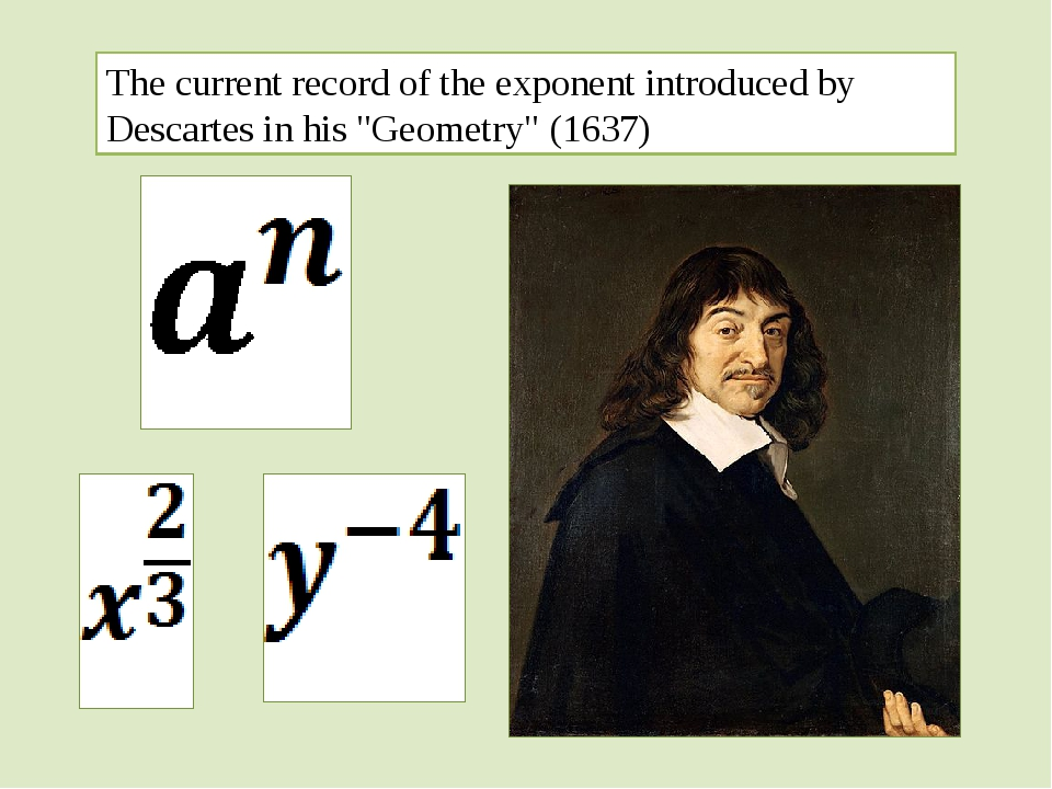 "The current record of the exponent introduced by Descartes in his ""Geometry""..."