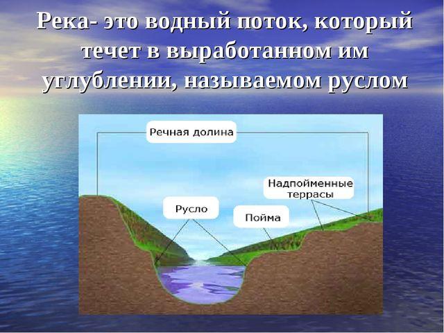 Река- это водный поток, который течет в выработанном им углублении, называемо...