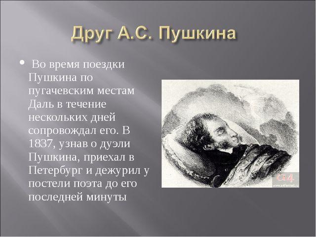 Во время поездки Пушкина по пугачевским местам Даль в течение нескольких дне...