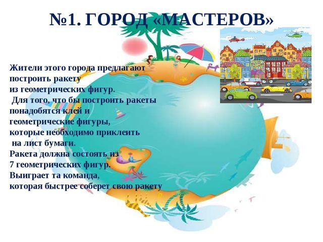 №1. ГОРОД «МАСТЕРОВ» Жители этого города предлагают построить ракету из геом...