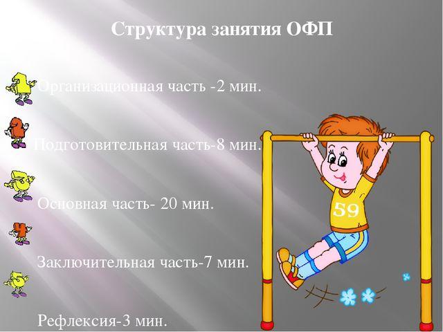 Структура занятия ОФП Организационная часть -2 мин. Подготовительная часть-8...