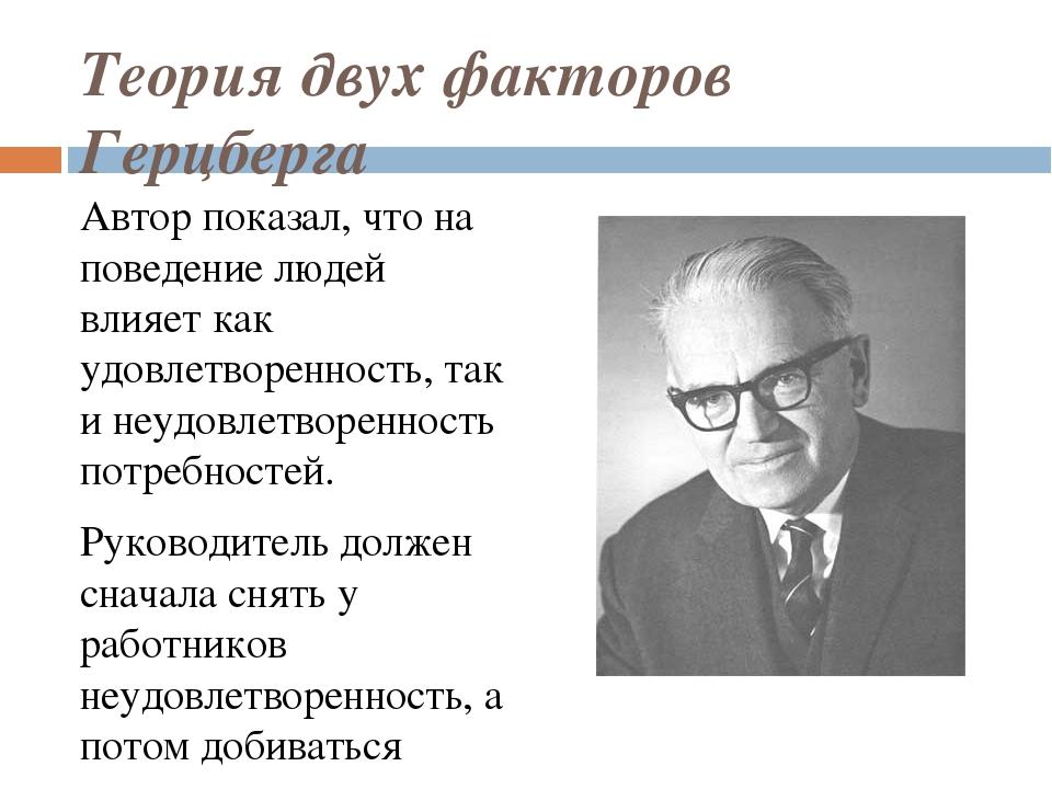 Теория двух факторов Герцберга Автор показал, что на поведение людей влияет к...