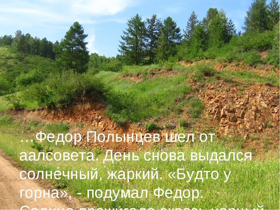 …Федор Полынцев шел от аалсовета. День снова выдался солнечный, жаркий. «Будт...