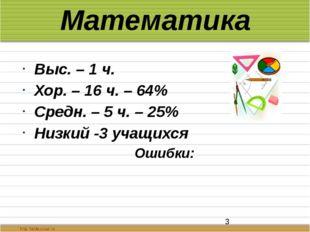Математика Выс. – 1 ч. Хор. – 16 ч. – 64% Средн. – 5 ч. – 25% Низкий -3 учащи
