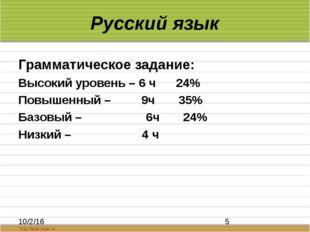 Русский язык Грамматическое задание: Высокий уровень – 6 ч 24% Повышенный – 9