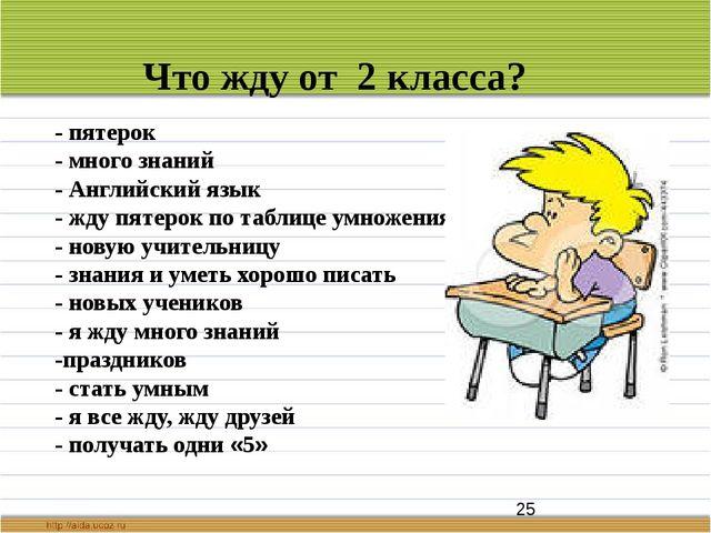 Что жду от 2 класса? - пятерок - много знаний - Английский язык - жду пятеро...