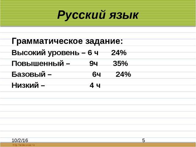 Русский язык Грамматическое задание: Высокий уровень – 6 ч 24% Повышенный – 9...