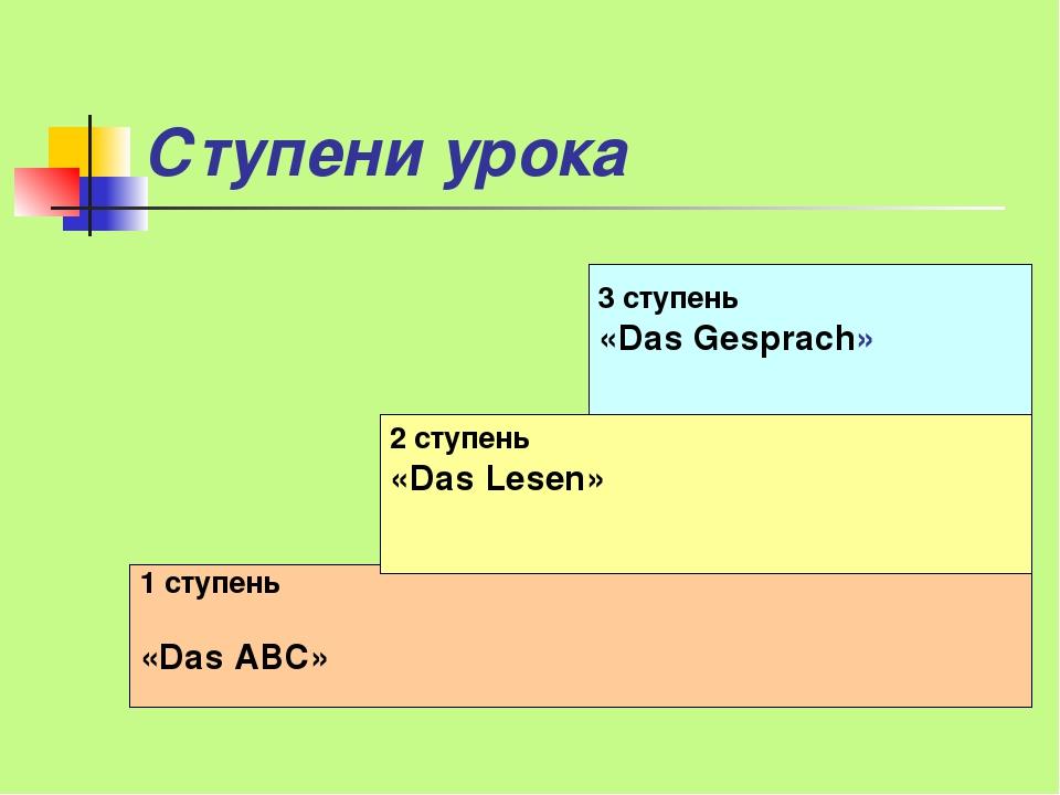 Ступени урока 1 ступень «Das ABC» 2 ступень «Das Lesen» 3 ступень «Das Gespra...