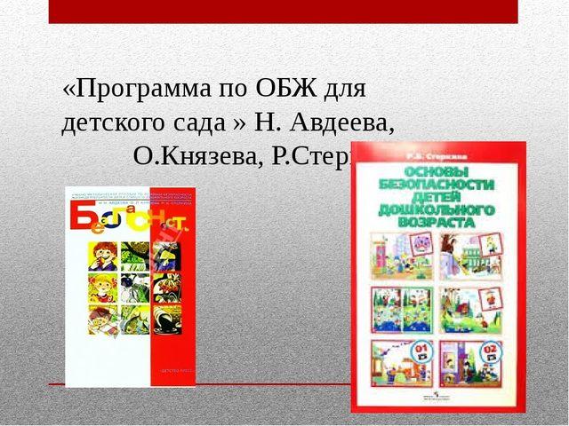 «Программа по ОБЖ для детского сада » Н. Авдеева, О.Князева, Р.Стеркина
