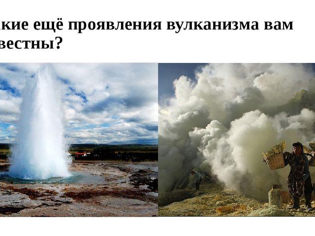 Какие ещё проявления вулканизма вам известны?