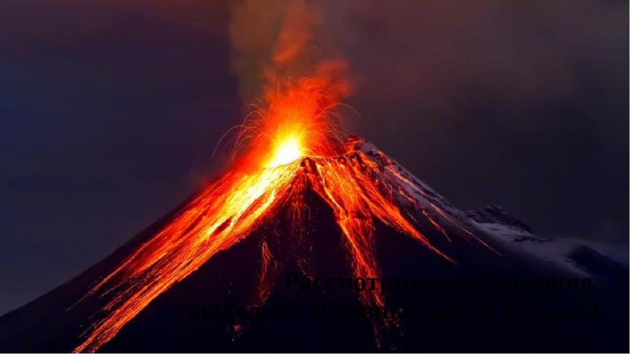 Рассмотрите изображение, выделите основные части вулкана.