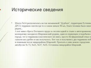 """Исторические сведения Шахта №14 располагалась на так называемой """"Дурбазе"""", те"""