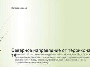 Северное направление от террикона № 18 Рутченковский коксохимзавод и террикон
