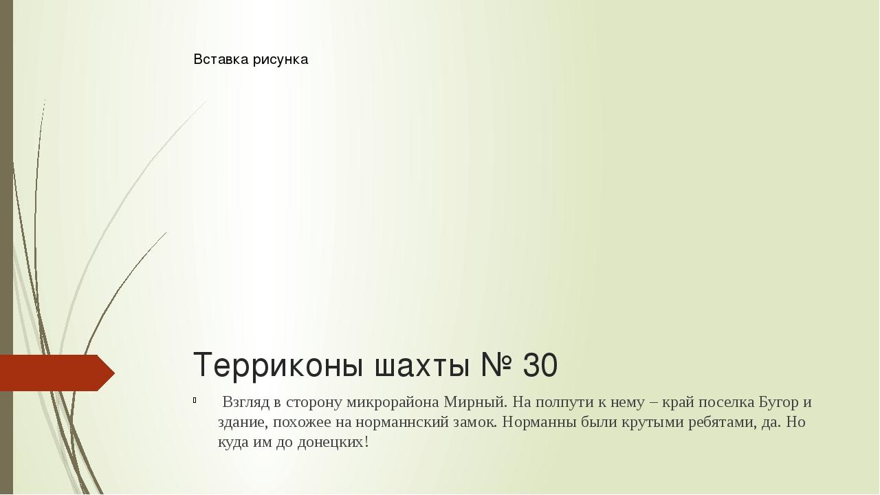 Терриконы шахты № 30 Взгляд в сторону микрорайона Мирный. На полпути к нему...