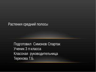 Подготовил Симонов Спартак Ученик 3 п класса Классная руководительница Терехо