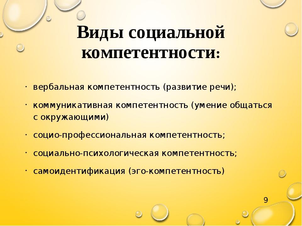 Виды социальной компетентности: вербальная компетентность (развитие речи); ко...