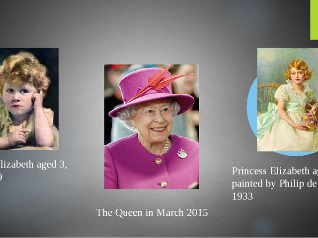 Princess Elizabeth aged 3, April 1929 The Queen in March 2015 Princess Eliza...