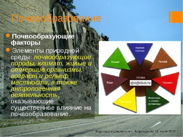 Почвообразование Почвообразующие факторы Элементы природной среды: почвообраз...