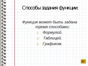 Способы задания функции: Функция может быть задана тремя способами: Формулой.