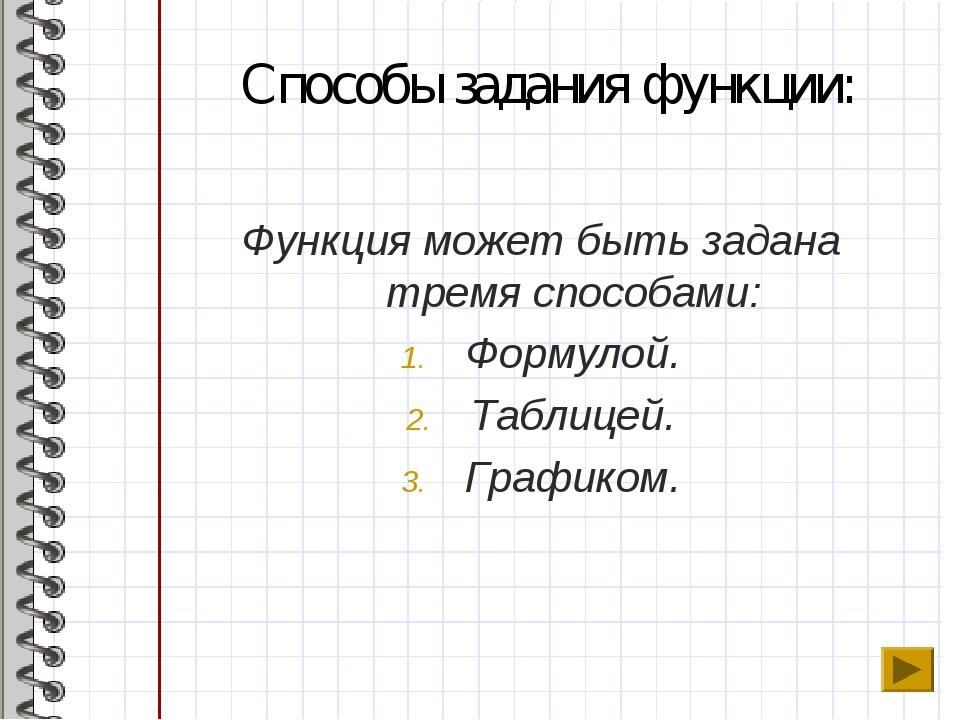 Способы задания функции: Функция может быть задана тремя способами: Формулой....