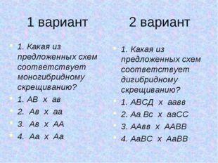 1 вариант 2 вариант 1. Какая из предложенных схем соответствует моногибридном