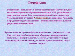 Гемофилия Гемофилия - сцепленное с полом рецессивное заболевание, при котором