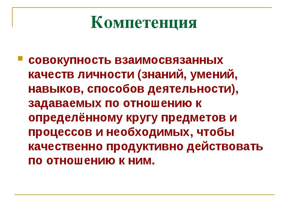 Компетенция совокупность взаимосвязанных качеств личности (знаний, умений, на...