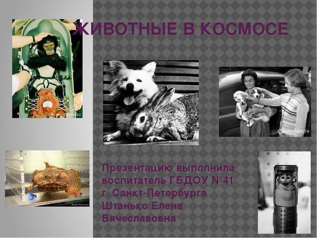 ЖИВОТНЫЕ В КОСМОСЕ Презентацию выполнила воспитатель ГБДОУ №41 г. Санкт-Петер...