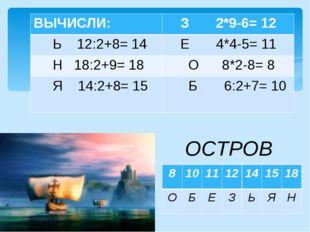 ВЫЧИСЛИ ОСТРОВ ВЫЧИСЛИ:З 2*9-6= 12 Ь 12:2+8= 14Е 4*4-5= 11 Н 18:2+9= 18 О
