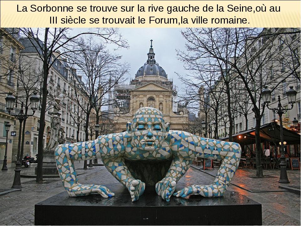 La Sorbonne se trouve sur la rive gauche de la Seine,où au III siècle se trou...