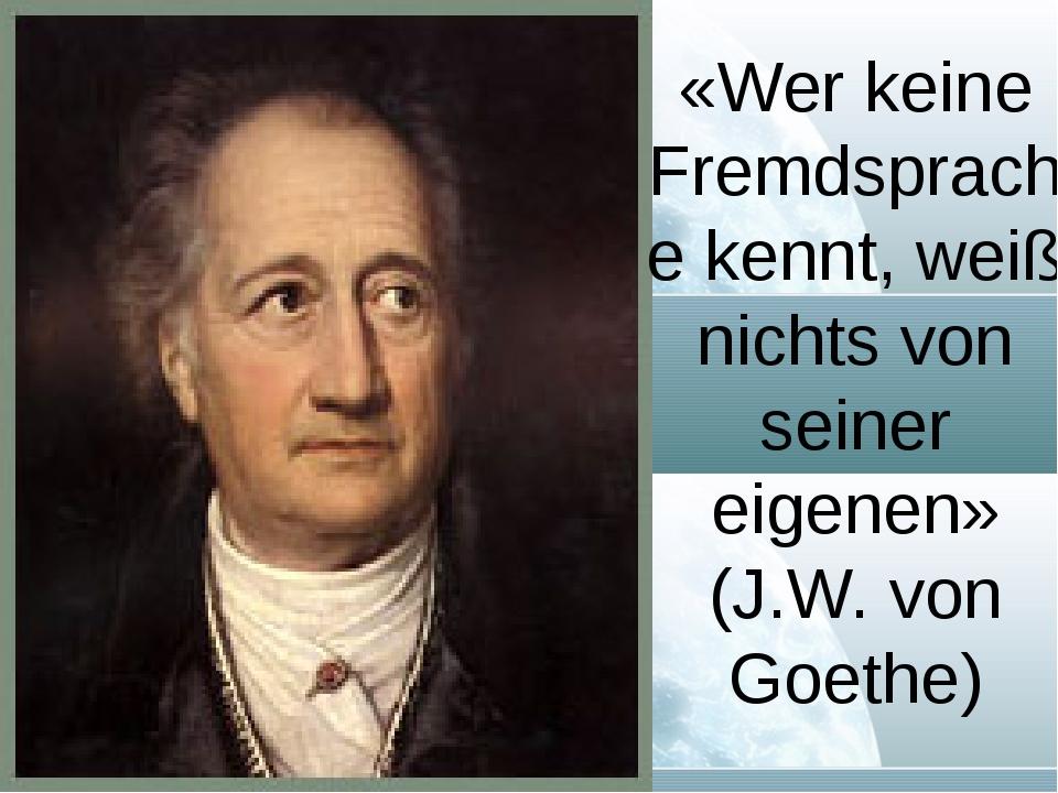 «Wer keine Fremdsprache kennt, weiß nichts von seiner eigenen» (J.W. von Goet...