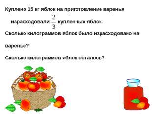 Куплено 15 кг яблок на приготовление варенья израсходовали купленных яблок. С