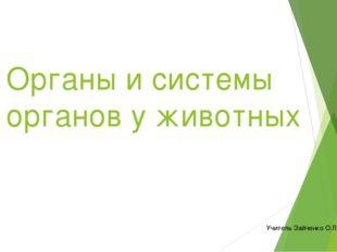 Органы и системы органов у животных Учитель Зайченко О.Л.