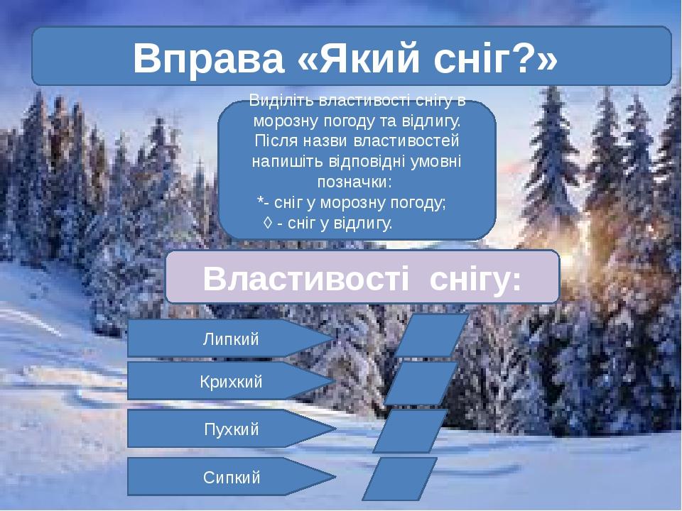 Вправа «Який сніг?» Виділіть властивості снігу в морозну погоду та відлигу....