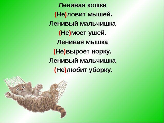 Ленивая кошка (Не)ловит мышей. Ленивый мальчишка (Не)моет ушей. Ленивая мышка...