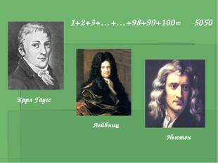 Карл Гаусс Лейбниц Ньютон 1+2+3+…+…+98+99+100= 5050