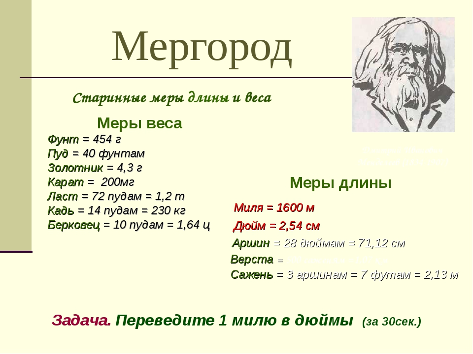 Мергород Меры веса Фунт = 454г Пуд = 40 фунтам Золотник = 4,3г Карат = 200м...