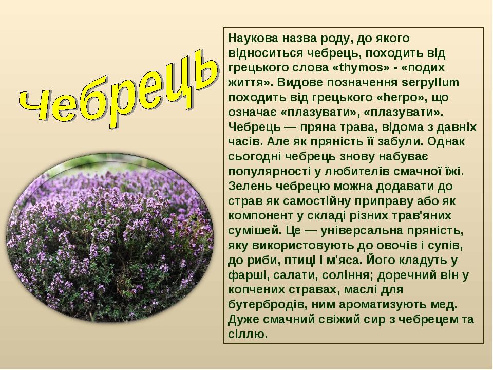 Наукова назва роду, до якого відноситься чебрець, походить від грецького слов...
