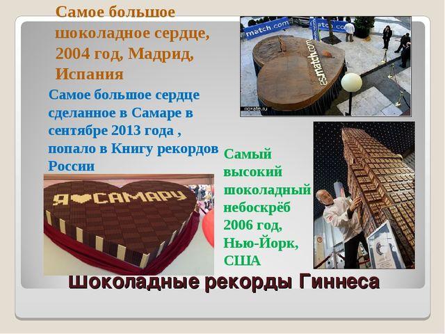 Шоколадные рекорды Гиннеса Самое большое шоколадное сердце, 2004 год, Мадрид,...
