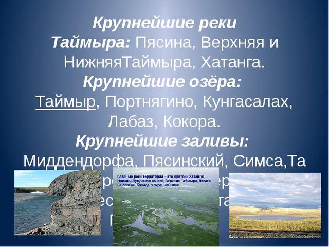 Крупнейшие реки Таймыра:Пясина, Верхняя и НижняяТаймыра,Хатанга. Крупнейшие...